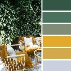 Bảng phối màu xanh lá và vàng mù tạt