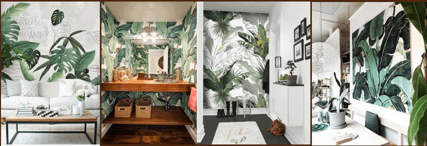 Vẽ hoặc dán tường trang trí nhà đẹp phong cách Tropical