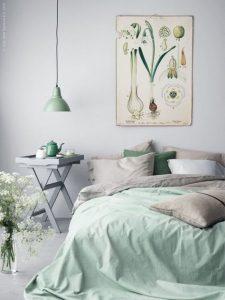 Phối màu xanh lá cho phòng ngủ