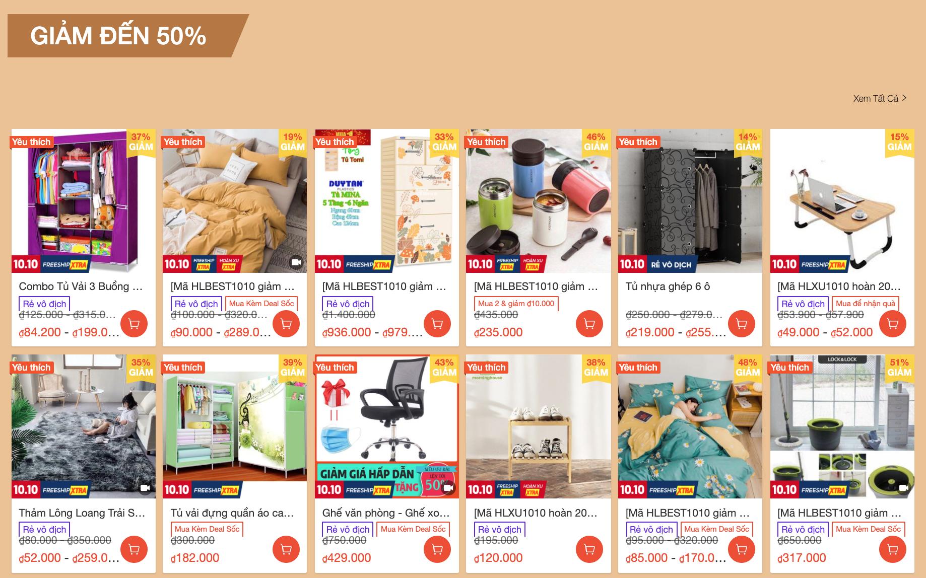 Mua đồ nội thất decor giảm giá trên Shopee 10.10 2