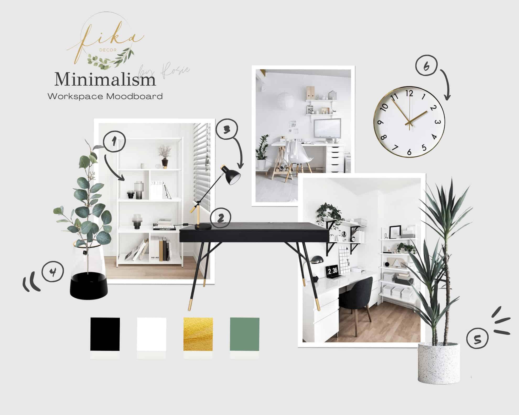 Góc làm việc phong cách tối giản (Minimalism) + Moodboard 2